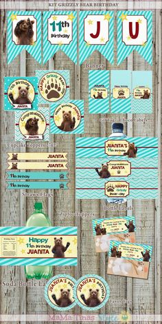 GRIZZLY BEAR PARTY. INVITATION BIRTHDAY CARD AND KIT PARTY LABEL PRINTABLE!! PARTY BEAR.