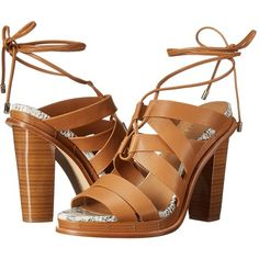 Calvin Klein Panelope (Almond Tan Toscana Leather) High Heels (365 QAR) ❤ liked on Polyvore featuring shoes, sandals, brown, caged sandals, tan block heel sandals, high heel sandals, lace up high heel sandals and brown leather sandals