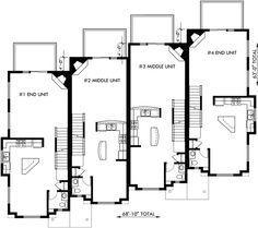 Townhouse Plans, 4 Plex House Plans, 3 Story Townhouse, F-540