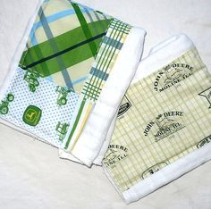 Boy Burp Cloths - John Deere Blue & Green Cloth Diaper.