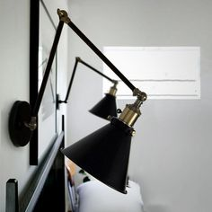 Black Cone Shade Wall Light Sconce (long arm) #Bed-Light #Bedroom #Bedside
