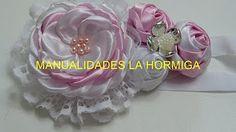 Como Hacer Tiara para Bautizo/ Flor Técnica Quemado/Botón de Rosa de Tela /Diy #623 ManualidadeslaHormig - YouTube