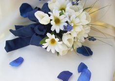 Brides Maids Bouquet Navy with tulips by AmoreBride on Etsy