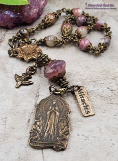 Our Lady of Lourdes Bronze Tourmaline Pink Agate Ornate Antique Style Rosary Chaplet for Love Happiness Protection Abundance Vitality Our Lady Of Lourdes, Rosary Bracelet, Pink Agate, Rosary Catholic, Flower Center, Abundance, Natural Gemstones, Making Ideas, Jewelry Crafts