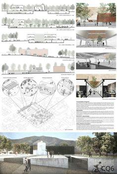Page Architectural Presentation Urban Design - Pag Architecture Design, Architecture Panel, Japanese Architecture, Landscape Architecture Drawing, Gothic Architecture, Design Page, Layout Design, Presentation Board Design, Architecture Presentation Board