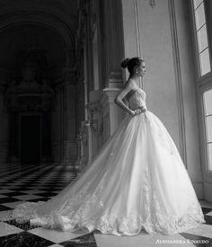 alessandra rinaudo 2016 bridal tina strapless gorgeous ball gown gorgeous wedding dress sweetheart lace bodice side view voluminous skirt train #weddingdress #ballgown #weddingballgown