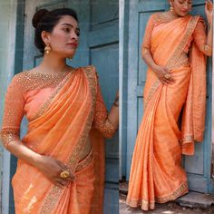 Want to check out simple designer blouse designs for your silk sarees? Here are 13 latest models to check. Saree Blouse Neck Designs, Saree Blouse Patterns, Designer Blouse Patterns, Simple Sarees, Trendy Sarees, Stylish Sarees, Fancy Sarees Party Wear, Saree Models, Elegant Saree