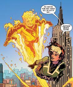Human Torch and Rogue Marvel Comics, Fun Comics, Human Torch, Comic Panels, Rogues, X Men, Comic Art, Iron Man, Concept Art
