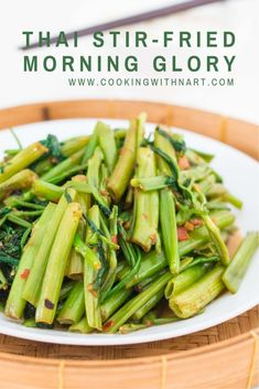 Thai stir-fried morning glory or water spinach is one of the best vegetable stir-fries ever! It's such a great way to get your greens in. Delicious with rice or plain rice porridge. Spinach Recipes, Thai Recipes, Vegetable Recipes, Asian Recipes, Healthy Recipes, Japanese Recipes, Vegetable Dishes, Seafood Recipes, Vegetarian Recipes