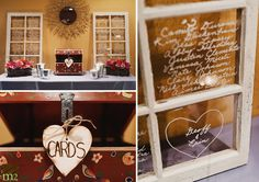 Writing on old antique windows as a substitute for traditional table cards!