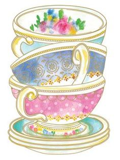 Ideas For Kitchen Room Illustration Tea Time Tea Cup Art, My Cup Of Tea, Tea Cups, Tea Party Invitations, Shower Invitations, Teapots And Cups, Copics, High Tea, Afternoon Tea