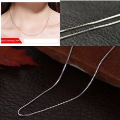Hot Sale Fashion 925 Solid Silver Chain Necklace 18 inches For Women 1mm #Unbranded #Chain