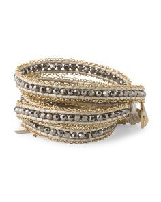 image of Gold Plated Brass Crystal Leather Cord Wrap Bracelet