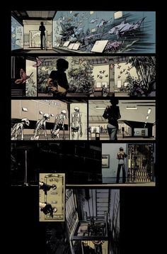 Here& the next page of the scene for Survival of the Fittest. Colors by Dave Stewart. Pretty clean left-to-right movement with the figure in each panel. My thought was that the camera stays put wh. Comic Book Layout, Comic Book Pages, Comic Books Art, Comics Story, Bd Comics, Manga Comics, Storyboard, Illustrations, Illustration Art