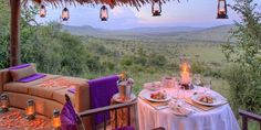 How cute would it be to have dinner here?! Tanzania safari at Andbeyond - kleins camp