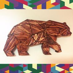 NOW FOR SALE ON MY ETSY SHOP link in my profile! Bear Polygon sculpture wall art $45 #bear #polygon #sculpture #art #etsy #etsyseller #etsyshop #2x4 #woodworking #woodwork #scrapwood #diy #outdoors #wildlife #cubs #dabears #stain #polyurethane #style #forest #outdoorsman #mancave #bearcave #artisan #wallart #handmade #wood #geometry