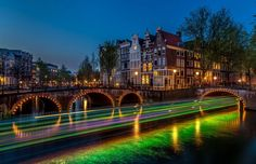 Man Made Amsterdam  Light Bridge Night Netherlands Building House Canal Time-lapse Wallpaper