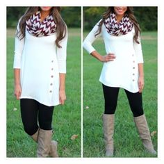 • White Side Tunic • White quarter sleeve side button down tunic. So stretchy and comfy. True to size. 95% rayon, 5% spandex. Perfect to wear over leggings! Tops