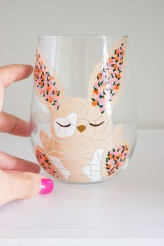 Mosaic and Roses Springtime Bunny Wine Glass by MEKU on Etsy