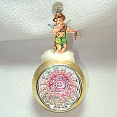 Glass Indent Christmas Ornament With Paper Scrap Cherub
