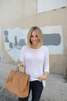 Spring Sweater (NOTE: parted close to center and swinging down to cover sides of forehead)