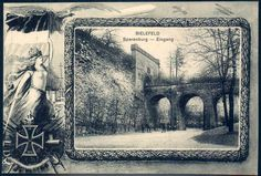 """German Empire Picture Postcards - """"Bielefeld - Sparenburg - Eingang"""", with Zeppelin subject, postcard 1918, real used"""