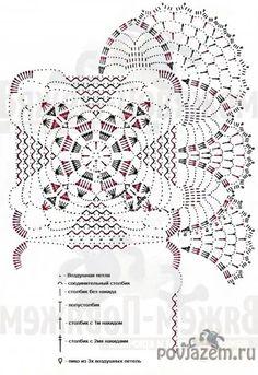 Crochet doily with diagram by antonia Crochet Bedspread Pattern, Crochet Doily Diagram, Crochet Mandala Pattern, Crochet Square Patterns, Crochet Doily Patterns, Basic Crochet Stitches, Crochet Squares, Crochet Table Topper, Crochet Tablecloth