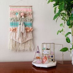 I love this and I'm keeping it in the attic, because my cats would love it Too Much! -- Woven wall hanging weaving and crystals (Maryanne Moodie) Weaving Textiles, Weaving Art, Tapestry Weaving, Loom Weaving, Hand Weaving, Hanging Tapestry, Weaving Wall Hanging, Wall Hangings, Diy And Crafts