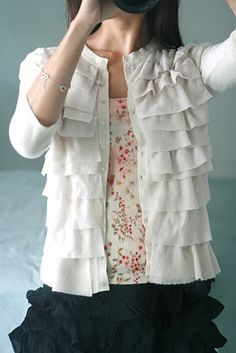 DIY ruffled cardigan, modest and feminine dressiing, love the ruffles! i could do this with my cardigans ; Diy Clothing, Sewing Clothes, Remake Clothes, Do It Yourself Fashion, Sewing Hacks, Sewing Tips, Refashioning, Feminine Dress, Sewing For Beginners