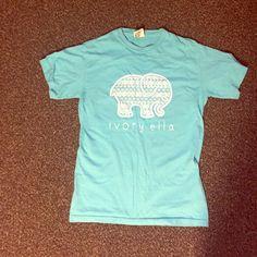 Ivory Ella Shirt Turquoise Ivory Ella Short Sleeve Tshirt. White Elephant in front. Worn once. Ivory Ella Tops Tees - Short Sleeve