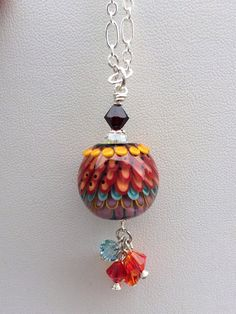 Handmade lampwork pendant necklace jewelry Parrot Bay colorful bead on Etsy, $70.00