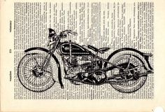 Harley 1930s motorcycle dictionary book page by Txalteredart, $8.00
