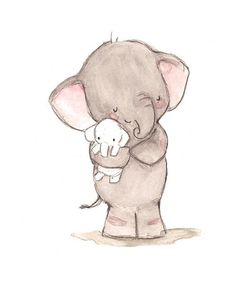 This sweet little elephant and his plush make quite the cuddlesome duo for a little one& nursery. art print from an original watercolor, gouache, and acrylic p Little Elephant, Elephant Love, Elephant Art, Tattoo Elephant, Elephant Drawings, Animal Drawings, Illustration Mignonne, Cute Illustration, Character Illustration