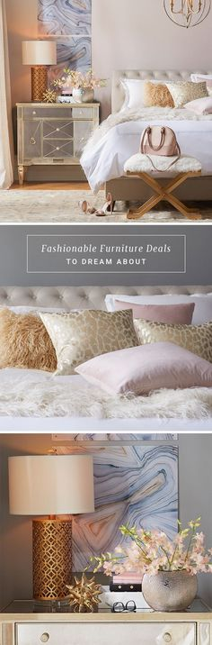 Invest in a look you'll always love with always-in-style bedroom furniture at irresistible prices from Joss & Main. Then, craft the bedroom oasis of your dreams with down comforters, luxurious bedding, and more. Love this room! Dream Bedroom, Home Bedroom, Bedroom Decor, Bedroom Furniture, Furniture Decor, Bedroom Ideas, Dream Rooms, Furniture Styles, Bedroom Lighting