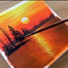 Easy Canvas Art, Small Canvas Art, Small Canvas Paintings, Acrylic Painting Canvas, Easy Nature Paintings, Canvas Painting Tutorials, Diy Painting, Sunset Painting Easy, Tree Painting Easy