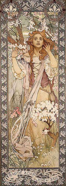 Maude Adams afgebeeld in 1909 als Jeanne d'Arc by Alfons Mucha