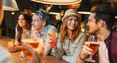 Photo about People, leisure, friendship and communication concept - group of happy smiling friends drinking beer and cocktails talking at bar or pub. Image of girls, glasses, boyfriend - 55296033 Moscow Mule, Bloody Mary, Mojito, Whisky Sour, Vancouver, Toronto, Best Cocktail Bars, Apps For Teens, Marriage Material