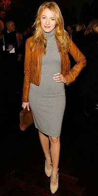 grey dress, leather jacket, shoes