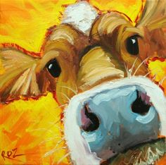 Drunken Cows - Whimsical Fine Art by Roz animal paintings canvases fine art Cow Paintings On Canvas, Farm Paintings, Happy Paintings, Animal Paintings, Cow Pictures, Cow Art, Diy Canvas Art, Painting Inspiration, Bunt