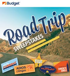 Enter the Budget Road Trip #Sweepstakes. Winner will take the ultimate road trip with $10,000 spending money and 2-week car rental!