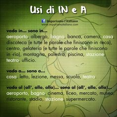 """Usi di """"in"""" e """"a"""""""