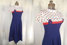 1940s Dress// Swing Dress// Shelf Bust Dress// Blue Dress// Polka Dot Dress// Full Circle Skirt// 50s Dress//40s  Day Dress// Red White XS S by RockabillyRavenVtg on Etsy