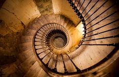 The stairs in a medieval tower remain at the abandoned Chateau de Gudanes, now being restored by an Australian family in the French Pyrenees.