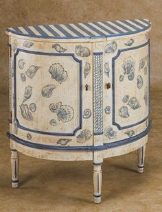 furniture with seashell motif | Multicolored Hand-Painted Jelly Cupboard with Whimsical Floral Detail ...