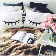 Eyelashes Lashes Pillow Cases for Your Bedroom by Cakelife White Bed... ($29) ❤ liked on Polyvore featuring home, bed & bath, bedding, bed sheets, grey, home & living, sheets & pillowcases, white pillow cases, white pillowcases and gray white bedding