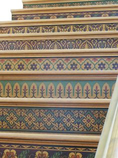 Faux Marquetry using Modello Design masking patterns on stair risers in Spanish Colonial Home. www.julieart.us & http://www.finishesbyvicki.com
