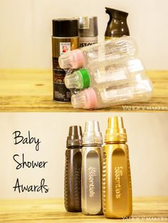 Great baby shower games deserve great prizes, and these gold, silver and bronze baby bottles are a fun way to award first, second and third place to your guests. (Don't worry, they're just for fun – not for baby! Baby Boy Shower Games And Prizes, Baby Shower Game Gifts, Baby Shower Activities, Baby Shower Trophy, Baby Shower Gifts For Guests, Toddler Activities, Fiesta Baby Shower, Baby Shower Fun, Baby Shower Gender Reveal