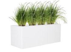 Polyester plantenbak Lotus 100x40x40 cm | Hoogglans zuiver-wit