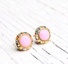 Opaque Soft Bubble Gum Pink Aurora Borealis Earrings Pastel Sugar Sparklers Small Swarovski Crystal Northern Lights Stud Earrings Mashugana