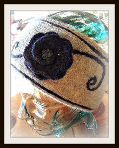 Hand Knit Flowered Headband